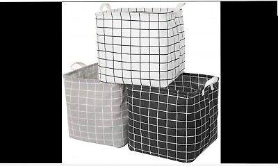 3 Pack Storage Cube Basket Bins in Grey, Black, White. collapsible