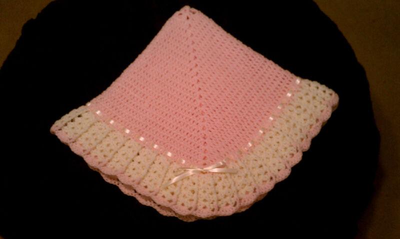 NEW Handmade Crochet Baby Blanket Afghan girl (blossom pink and ivory)