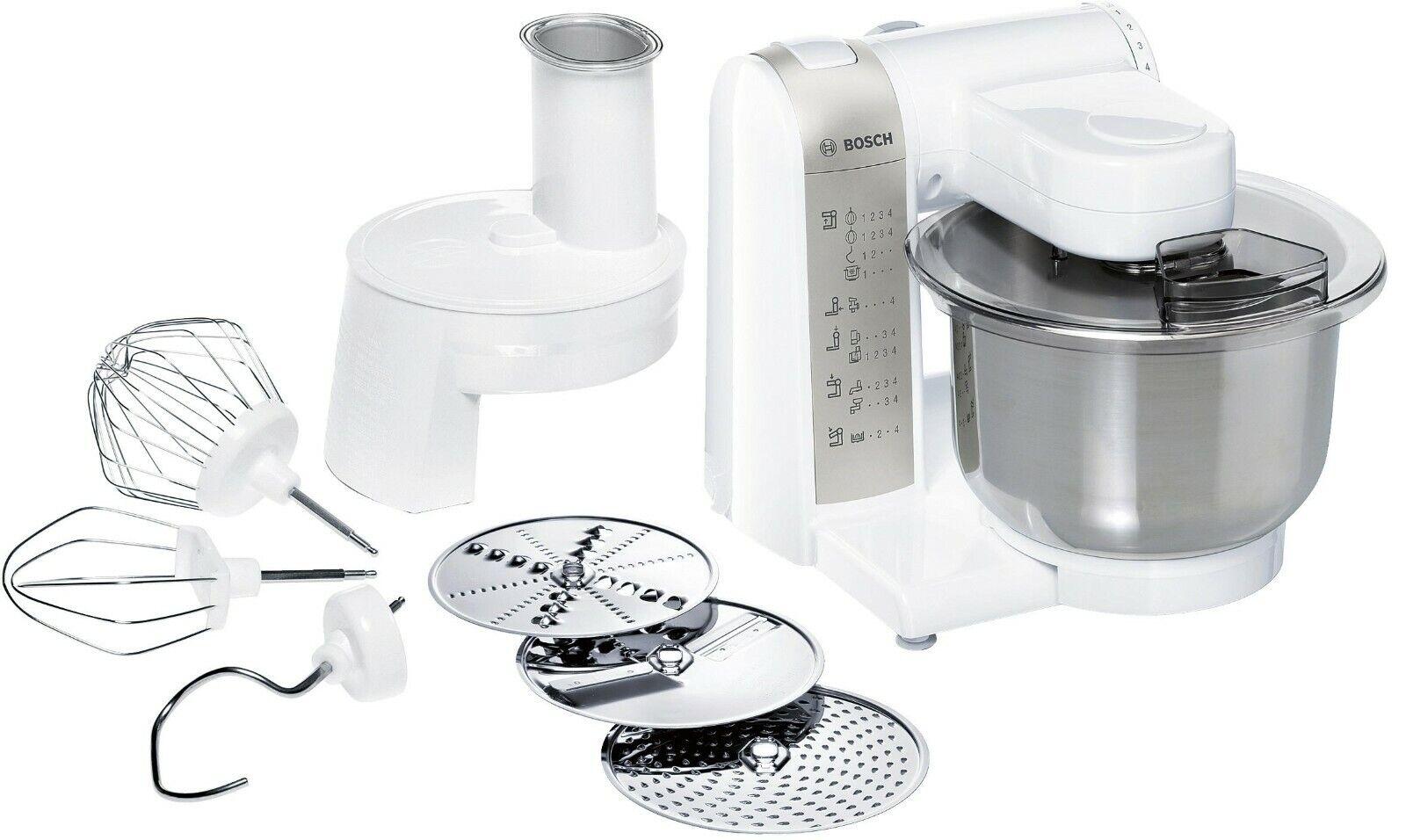 Bosch Küchenmaschine MUM MUM48W1 600W Weiss, Knethaken, Schlag- und Rührbesen
