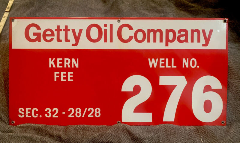 """Vintage Porcelain Kern Fee Getty Oil Company Oil Well Lease Sign 12"""" X 24"""""""