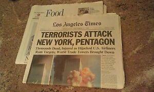 9/11 NEWS SEPTEMBER 12 2001 - LA TIMES NEWSPAPER - TERRORISTS ATTACK NEW YORK