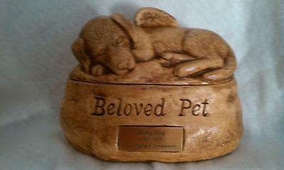 Ceramic Dog /Pet Urn cremation/angel/name plate