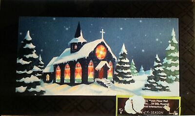 Snowy Church Christmas light up LED musical out door mat