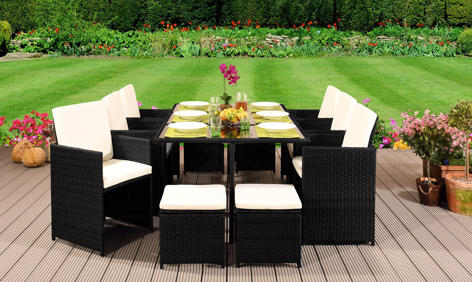 Garden Furniture - 10 Seater Rattan Outdoor Garden Furniture Set - 6 Chairs 4 Stools & Dining Table
