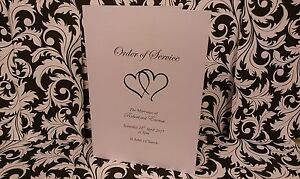 50x Personalised Wedding Order of Service (ENTWINED HEARTS) JAN SPECIAL OFFER £5