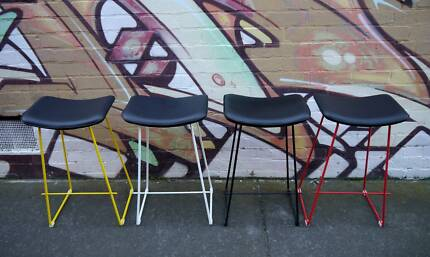 New Retro Metal Wire Kitchen Bar Stools Stool Red White Black Richmond Yarra Area Preview