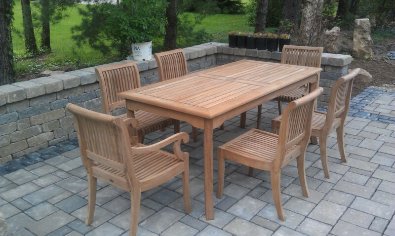 "7-piece Outdoor Teak Dining Set: 60"" Rectangle Table, 6 Arm/armless Chairs Giva"