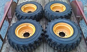 4 NEW 12-16.5 Skid Steer Tires & Rims for Case 1845C & others - 12X16.5