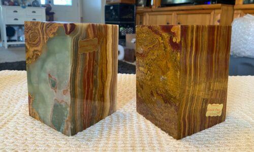 """Vintage Gorgeous Onyx Stone Bookend Pair Rich Colors Pakistan 19lb  6"""" x 4"""""""