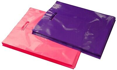 100 12x15 Glossy Pink And Purple Plastic Merchandise Bags Whandles