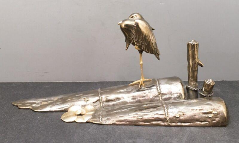 Impressive Japanese Taisho Silver .950 Okimono - Heron