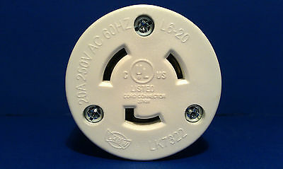 Replacement 20 Amp 250 Volt Female Twist Lock 3 Wire Power Cord Plug Nema L6-20R ()