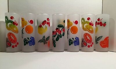 Vintage Federal Glass Frosted Fruit Zombie Collins Tea Beverage Glasses Set of 7