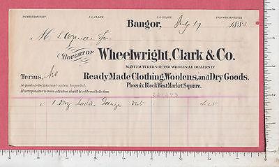 9650 J. S. Wheelwright, Clark clothes, 1883 billhead Bangor, ME J. G. Blake