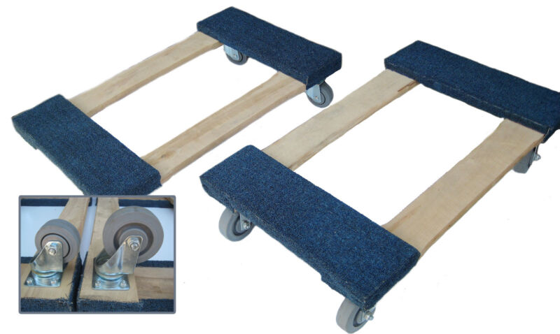 """NK Furniture Movers Dolly, Soft Gray Non-marking TPR 17"""" x 30"""" -3"""" or 4"""" casters"""