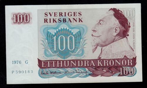 SWEDEN 100 KRONOR 1976 G PICK # 54b AU-UNC.