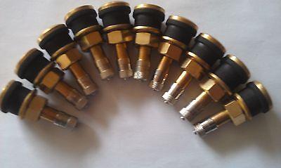 10 Pack-tr501 Brass Valve Stem For Skid Steer Wheelrim Truck Trailer-tubeless