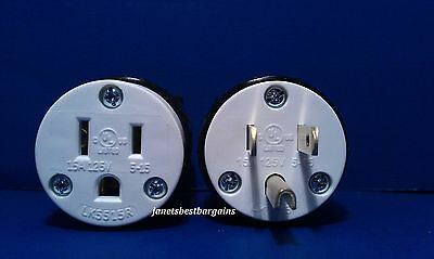 15 Amp 125 Volt Straight Female Male 3 Wire Power Cord Plug NEMA 5-15R 5-15P