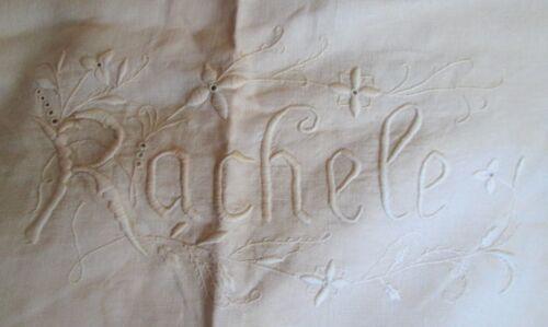Antique Italian Homespun Large Sheet RACHELE Embroidery & Handmade Lace