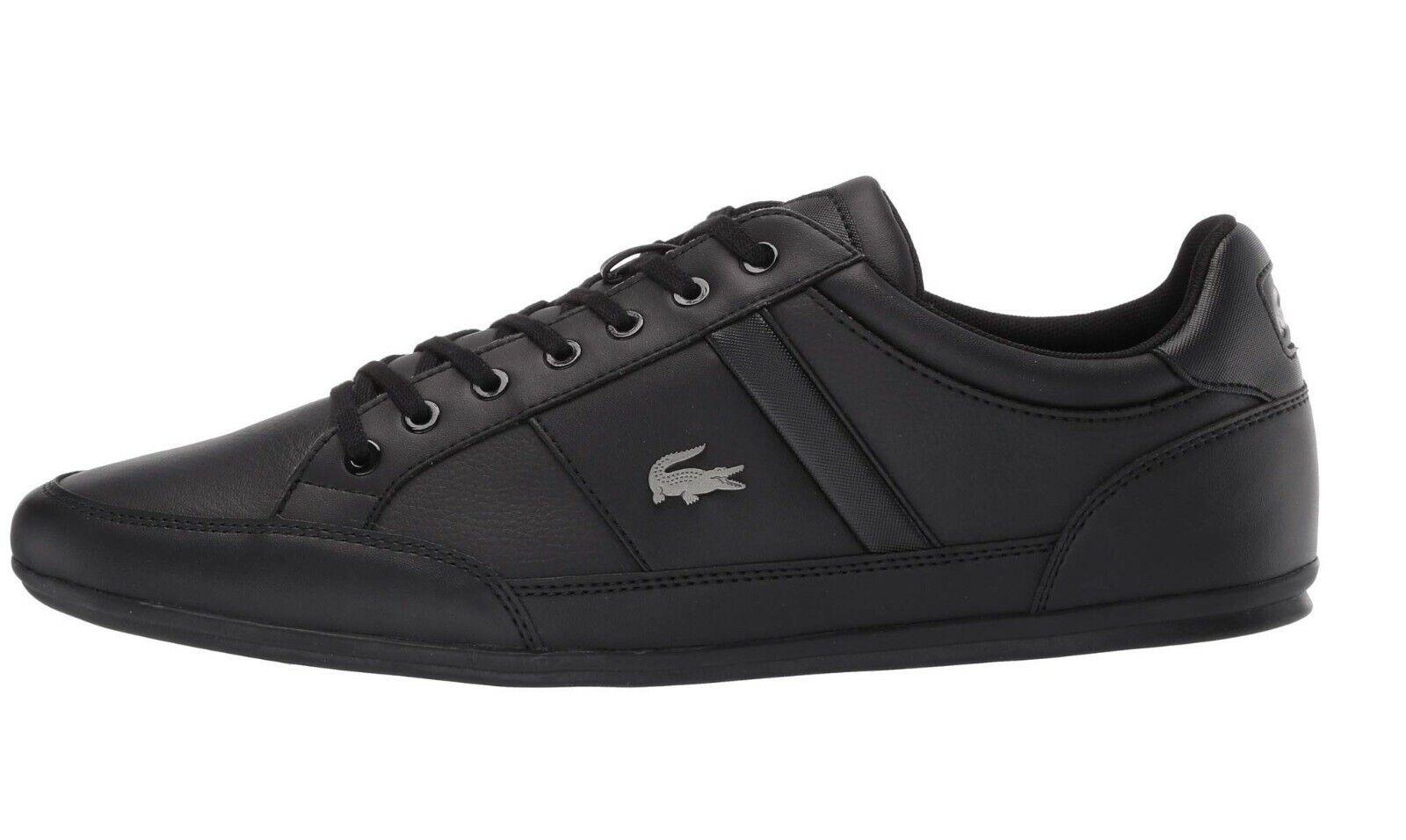 LACOSTE Chaymon BL Black Croc Logo Leather Shoes Men's Fashion Sneakers