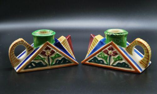 Antique Japan Art Deco candle holder hand painted finger ring set crafts