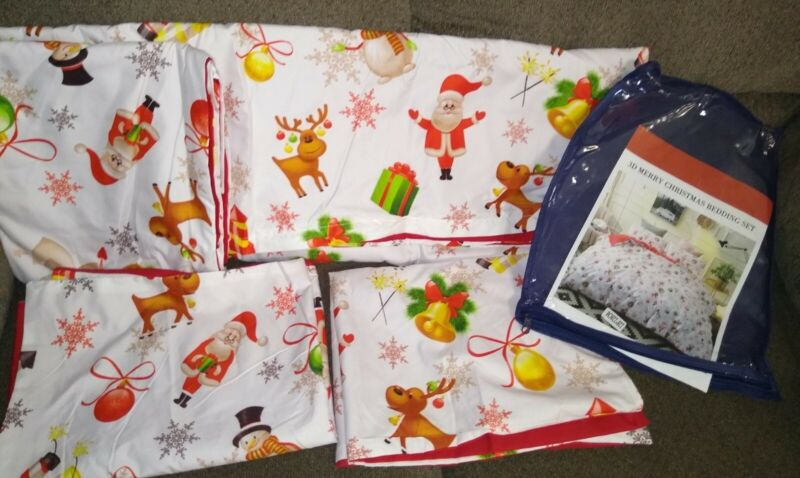 Christmas Duvet Cover 2 Shams Set Santa Reindeer Bells Snowman QUEEN SIZE Bed