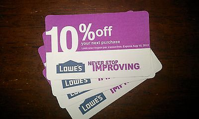10 Lowes 10%Off Coupons Exp 8/15/2013, can ONLY be used @ competitors, NOT Lowes on Rummage