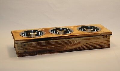 Triple Small Elevated Cat, Dog, Pet Dish Small Feeding Stand  Dog or Cat Feeder