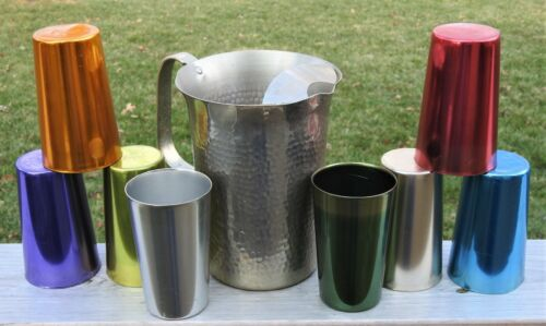 Vintage Colored Aluminum 8 Bascal Tumblers & Italy Pitcher  Multi-Color Glasses