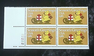 1981 Plate Block 1940! US Mint MNH Stamps Non-Denominational Christmas Bear/Sled ()