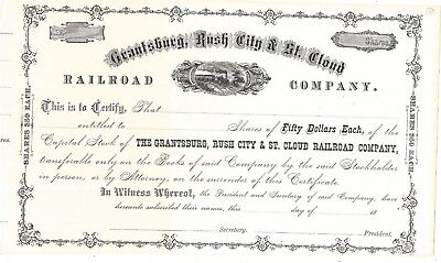 GRANTSBURG, RUSH CITY & ST. CLOUD RAILROAD COMPANY....1800'S UNISSUED STOCK](1800 Party City)