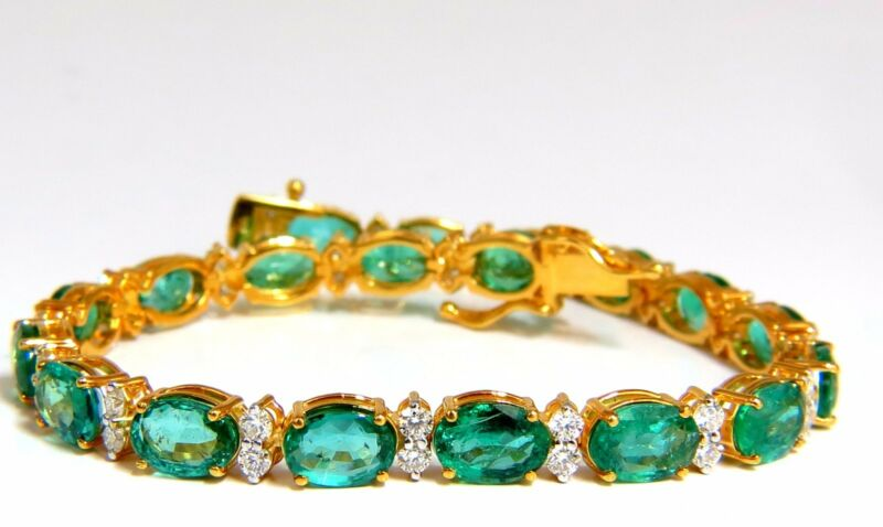 14.26ct Bright Vivid Green Natural Emerald Diamonds Tennis Bracelet 14kt +