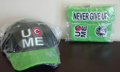 0431a877 WWE AUTHENTIC John Cena Green U Can't See Me Baseball Hat Headband  Wristband Set