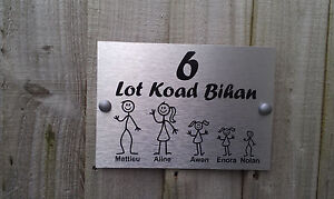 Fran ais plaque porte personnalis b ton famille nom for Porte nom fait maison