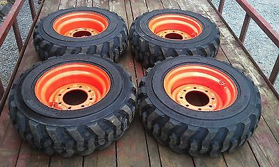 4 New 10-16.5 Skid Steer Tireswheelsrims 12 Ply - For Bobcat Others-10x16.5