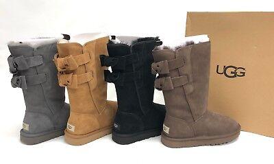 Ugg Australia Allegra Bow II Grey Chocolate Chestnut Black Boots 1102931