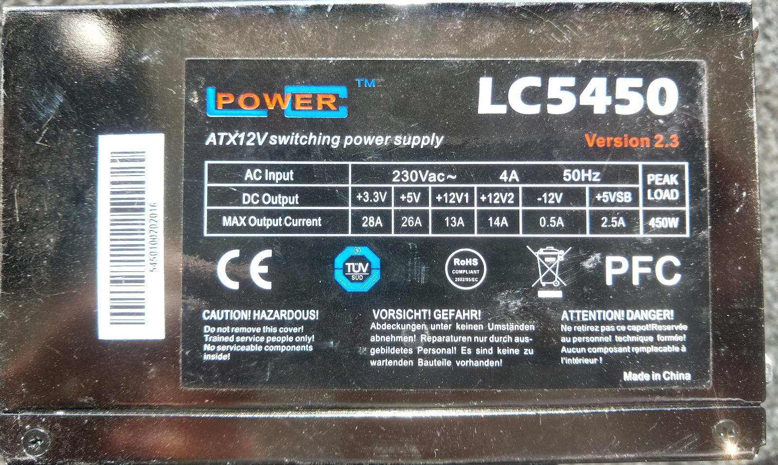 ✅alimentation pc power lc5450 v2.2 450watts