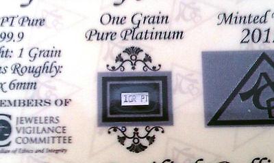 ACB Platinum SOLID BULLION MINTED 1GRAIN PT BAR 99.9 Pure W/certificate +