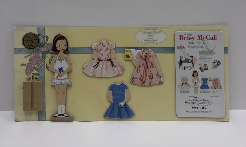 """Betsy McCall From The 50's Wooden Paper Doll- """"Betsy Collectors Edition """"- NEW"""