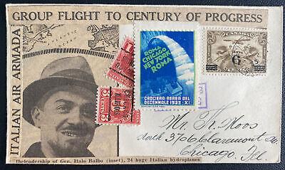 1933 Montreal Canada To Century Of Progress Special Flight Cover Gen Italo Balbo