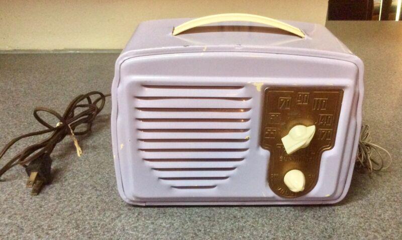 Vintage 1947 Temple Superhet G-418 Antique Metal Art Deco Project Tube Radio