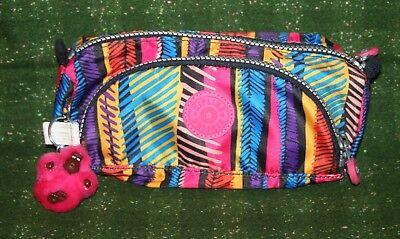Kipling Cute Ridge Print Neon Monkey Pen Case cosmetic Make-Up Bag AC7344