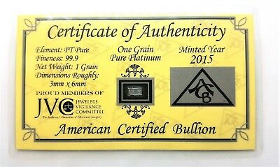 1/15 Gram .999 Fine Platinum Bullion Bar - in Certificate of Authenticity Card