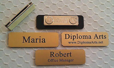 Custom Name Tags 2.5x0.75 Gold -black Letters Corners Rounded W Magnet