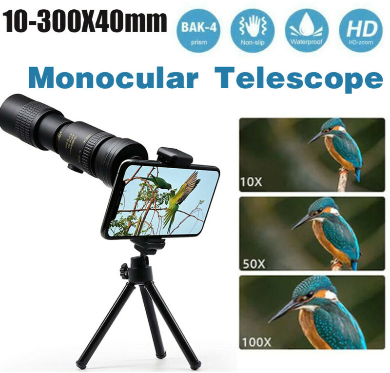 4K 10-300X40mm Super Telephoto Zoom Portable Monocular Telescope w/Tripod + Clip