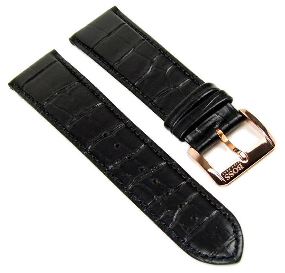 Hugo Boss Ersatzband Uhrenarmband Leder 22mm schwarz für HB 1512635