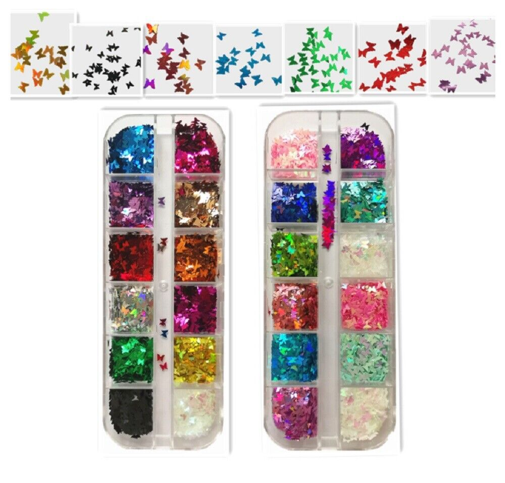 3 D Colorful Laser Butterfly Sequins Nail Art Flakes Glitter Foil Decoration US Health & Beauty