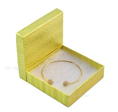 Lot Of 100 Gold Cotton Filled Box Jewelry Gift Boxes Bracelet Box 3.5x3.5 Hot