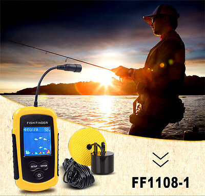 100M Depth Fish Finder Portable Sonar Sensor Alarm Transducer Fishfinder Ao