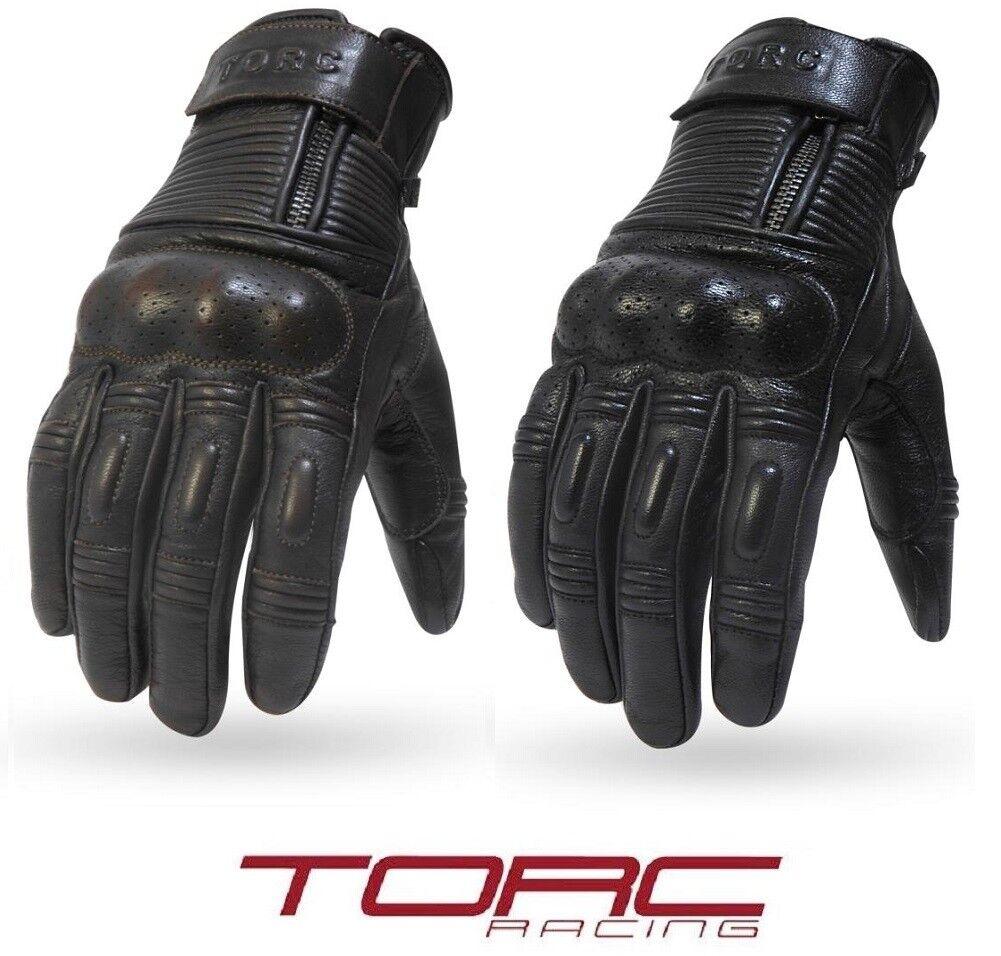 Torc Fairfax Black Goat Leather Mid Length Retro Street Motorcycle Gloves Medium